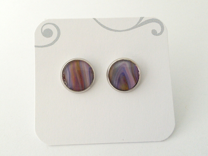 Art Cufflinks in Shades of Purple, Pink and Orange