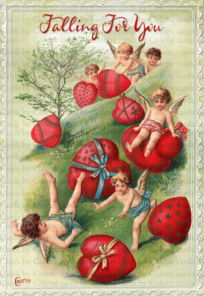 Valentine Cherubs Digital Collage Greeting Card2164