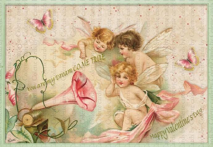Valentine Angels Digital Collage Greeting Card2091