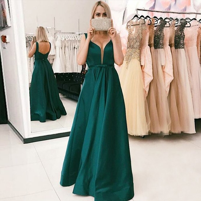 2020  Prom Dress A-Line Long Prom Dress with Sash Pockets Green Formal Gowns