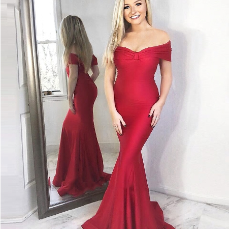 2020 Wine Red Evening Mermaid Party Dresses Off Shoulder Sexy Girls Formal Long