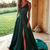 2020 Sexy Dark Green Prom Dresses  High Split Sweep Train Formal Gowns Robe