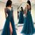 2020 Sexy Long Prom Dresses V-Neck High Slit Appliqued Tulle Backless Long