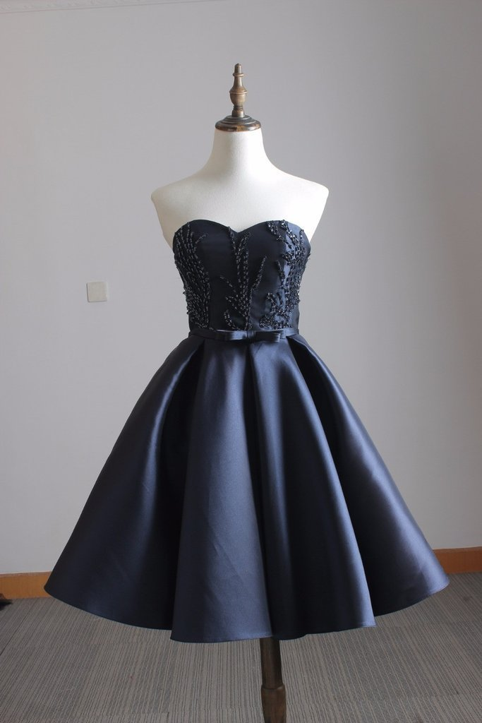 Cute A-line Satin Navy blue Sweetheart Beaded Bridesmaid Dress, Short Party