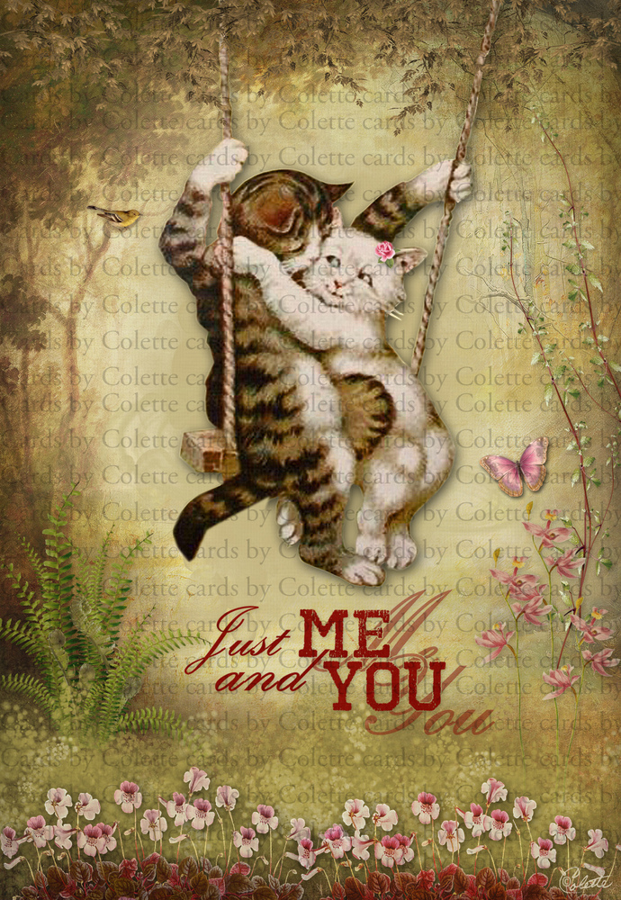 Valentine Cats Just Me and You Digital Collage Greeting Card966