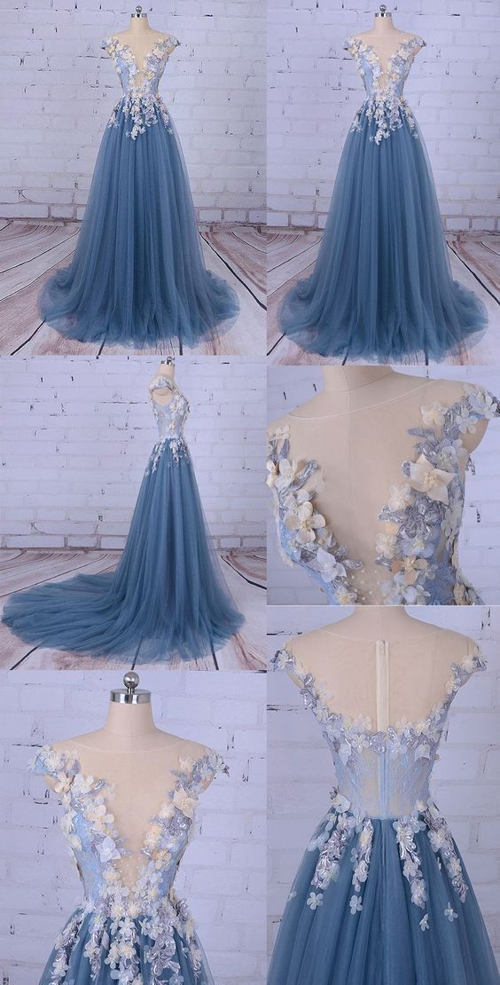 Blue Long Prom Dress 2020, Party Gown 2020, Charming Wedding Party Dress