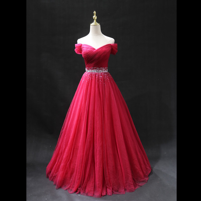 New Handmade Sweetheart Red Beaded Prom Dress 2020, Off Shoulder Gown