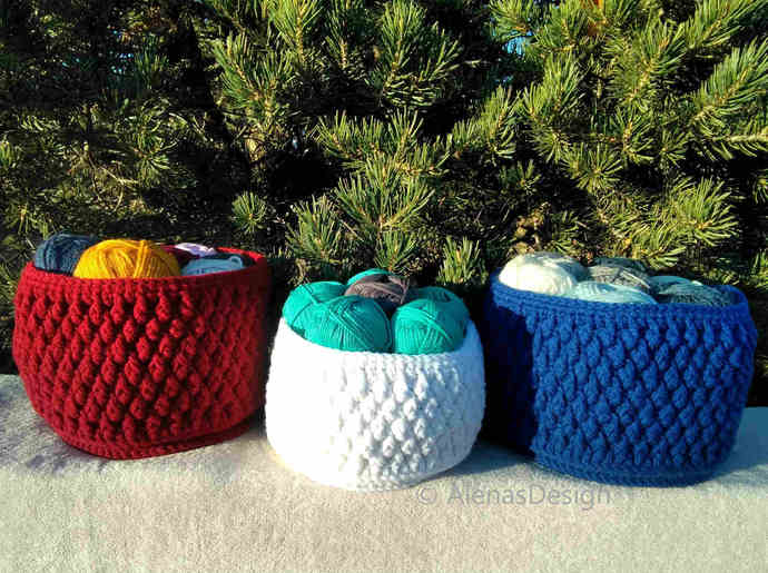 Nesting Baskets Crochet Pattern 164 Storage Round Baskets Crochet Basket Pattern