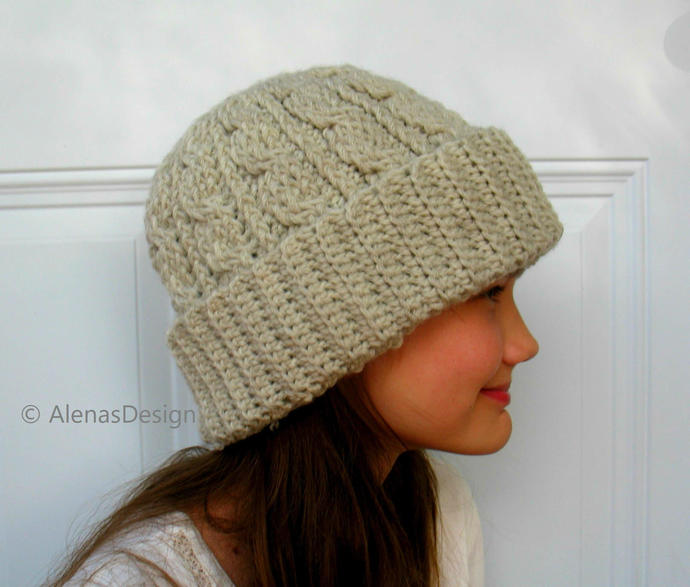 Cabled Hat Pattern, Crochet Pattern 246, Slouchy Hat Pattern, Cable Hat Pattern,