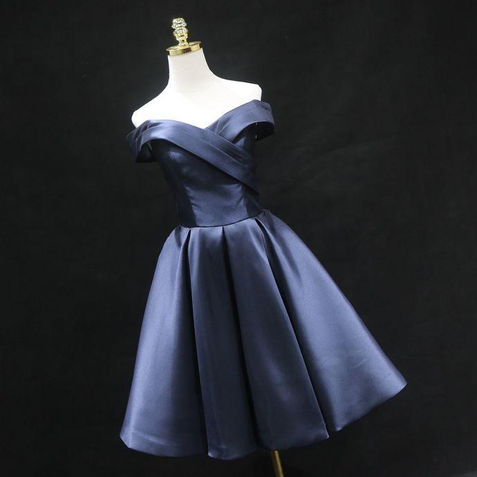 Navy Blue Satin Short Bridesmaid Dress, Short Bridesmaid Dress 2020