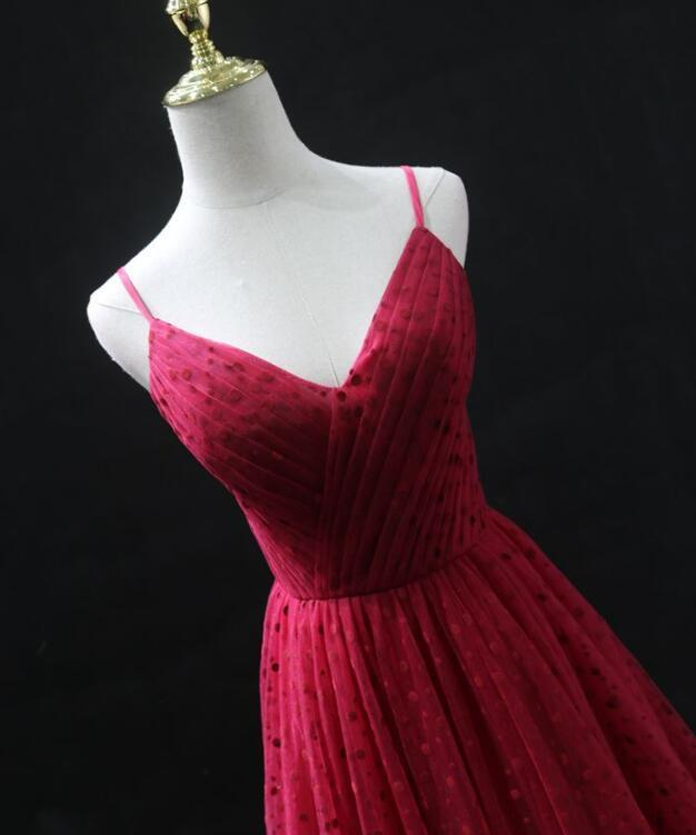 Charming Tulle High Quality Red Straps Long Prom Dress, Prom Dress 2020