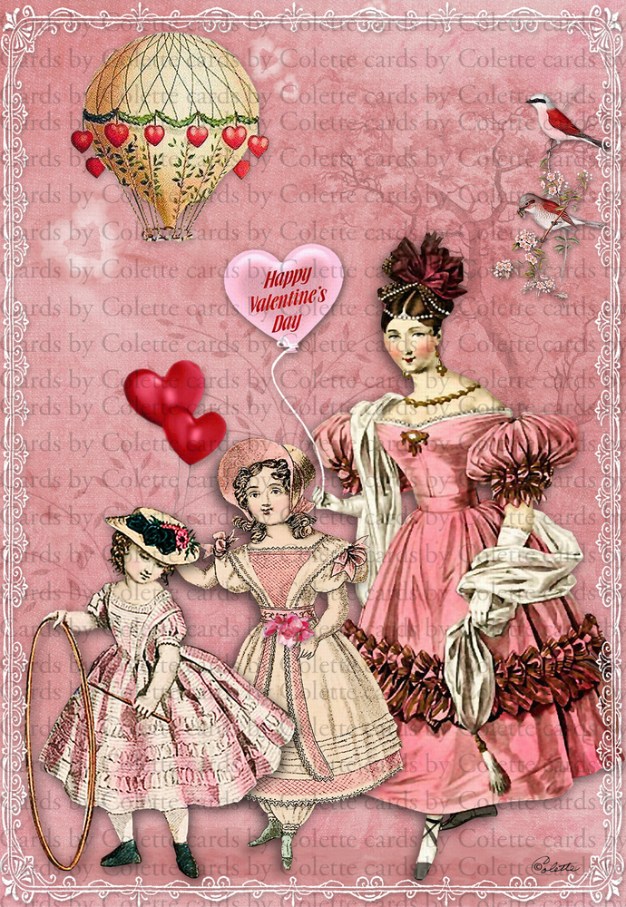 Valentine Mother and Children Digital Collage Greeting Card2260
