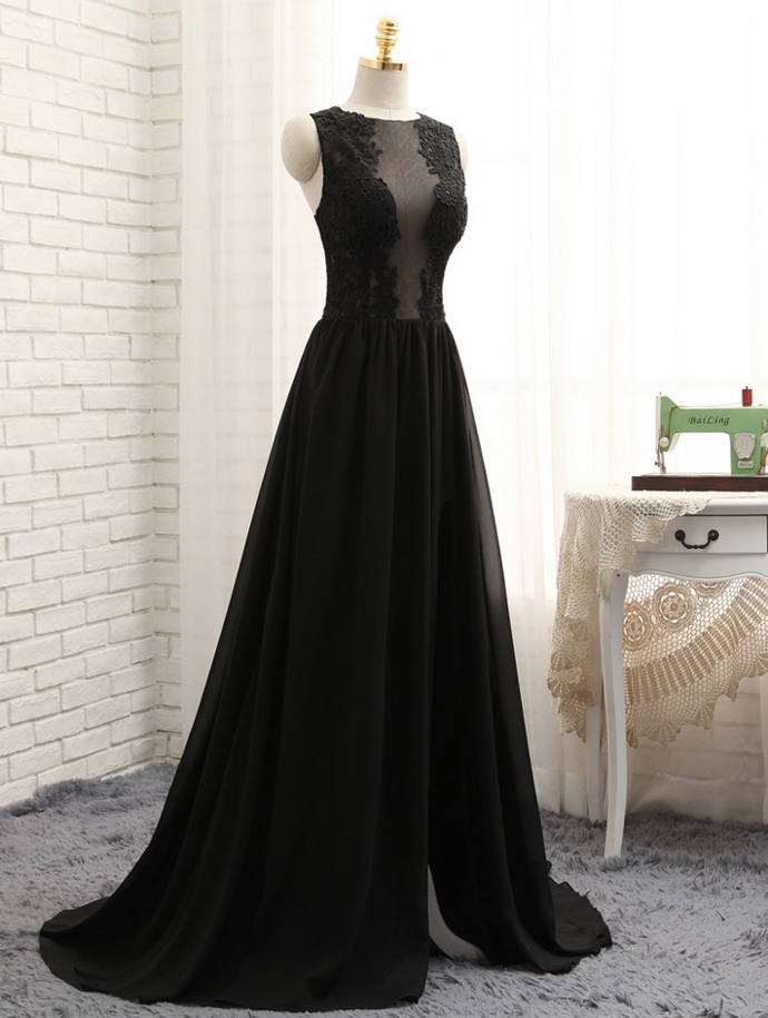 A-line Black Chiffon Appliques Lace Sexy Long Prom Gown, Evening Dresses Evening