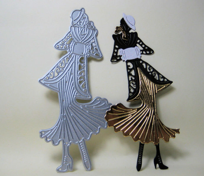 Lady with Fancy Coat and Skirt Metal Cutting Die