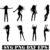 Dancing girl Silhouette papercut template Set, Paper cut Dancing girl svg file
