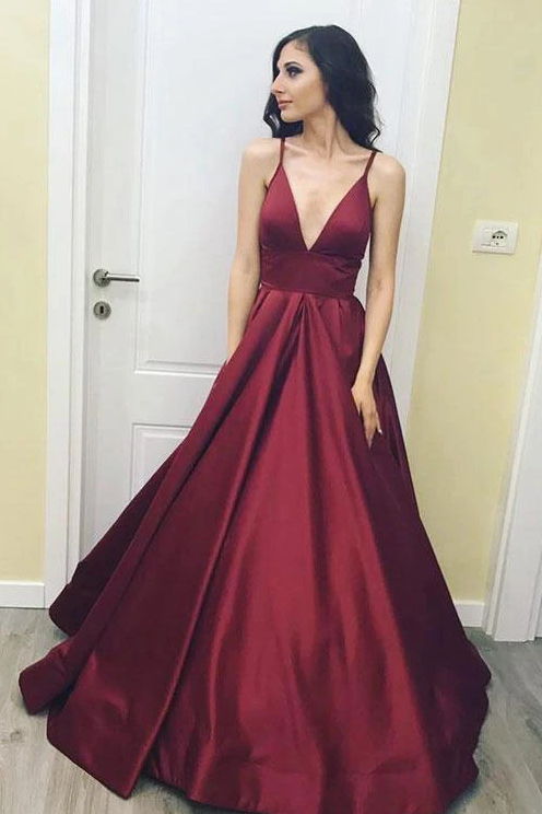 Simple Spaghetti Straps Burgundy V neck Long Prom Dress,A Line Formal Evening