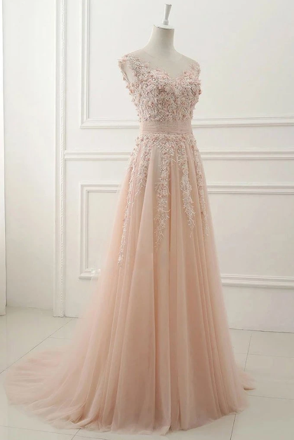 Round Neck Lace Appliques Prom Dresses,Tulle A Line Evening Dress