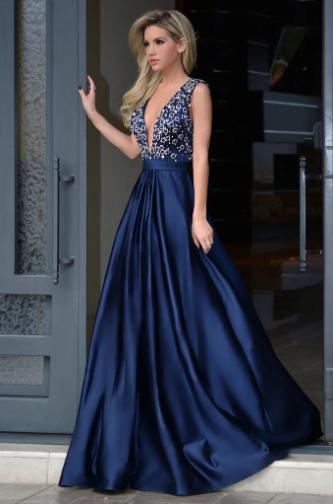 Elegant Deep V-neck Royal Blue Rhinestone A-line Long Cheap Prom Dresses