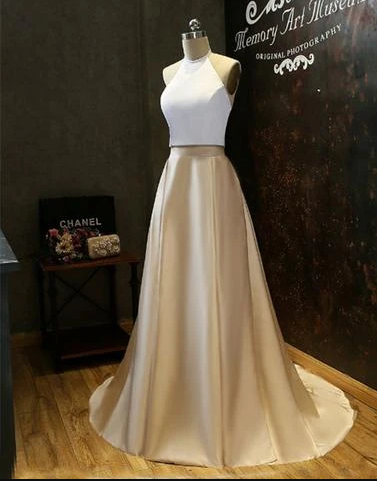 Simple Two-Piece Gold Halter Long Prom Evening Dress
