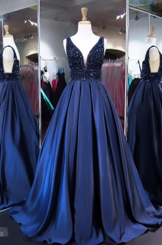 Unique Royal Blue A Line V Neck Sleeveless Long Prom Dress
