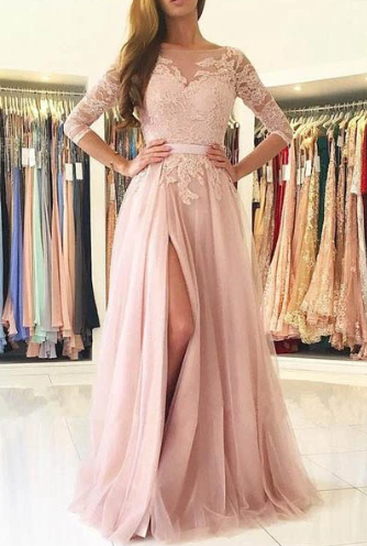 Elegant Half Sleeves Pink Tulle Long Lace Prom Dress