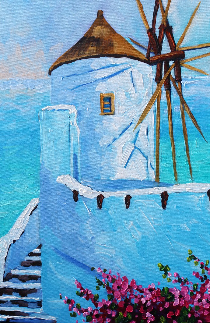 Wind Mill of Mykonos' Original Oil Painting on Canvas by Rebecca Beal Signed