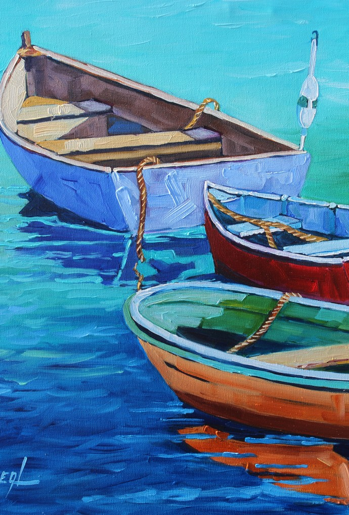 Fresh Air and Boats An Original Oil Painting by Rebecca Beal on Canvas