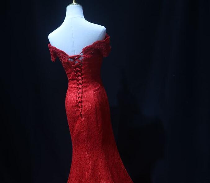 Beautiful Red Lace Mermaid Wedding Party Dress, Prom Dress 2020