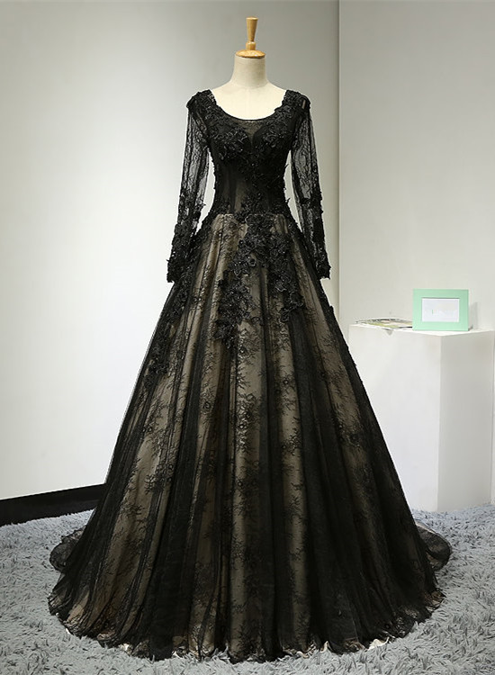 Black Long Lace Evening Gown, Black Party Dress 2020