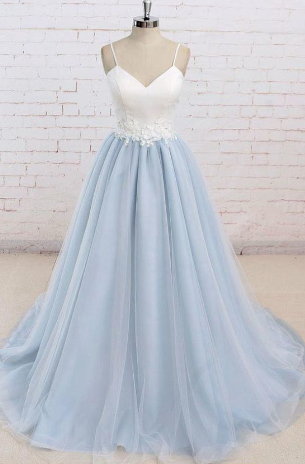 Spaghetti Straps Sweep Train Backless Tulle Prom Dress