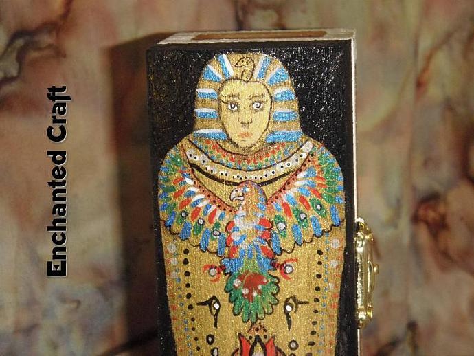 a handpainted Egyptian Mummy case wood box