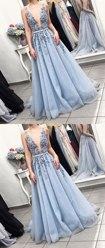 Blue v neck tulle lace long prom dress, blue tulle formal dress F6977