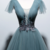 Deep Green Tulle Open Back Cap Sleeve Long Prom Dress, Formal Dress