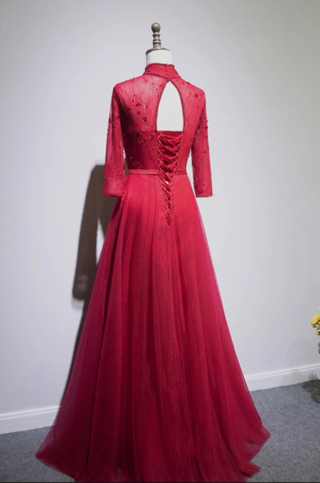 Burgundy Lace Long Sleeve Chinese Style Formal Prom Dress With Bowknot