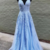 Blue Lace Tulle V Neck Long A Line Senior Prom Dress, Evening Dress