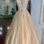 Champagne Tulle V Neck Long Lace Flower Senior Prom dress, Evening Dress