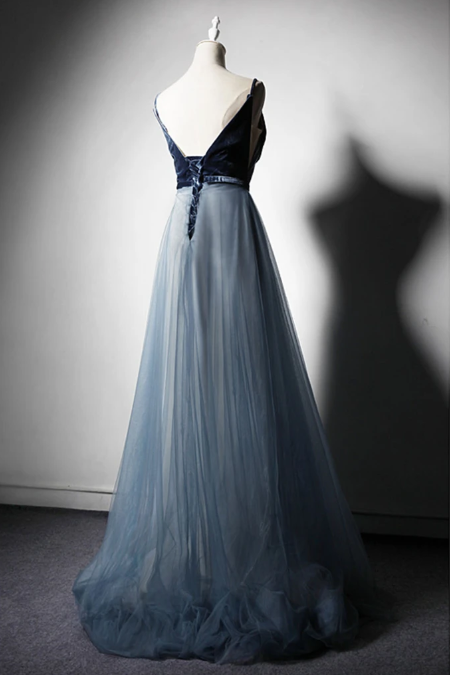 New Design Blue Tulle Velvet Long V Neck Senior Prom Dress, Occasion Dress