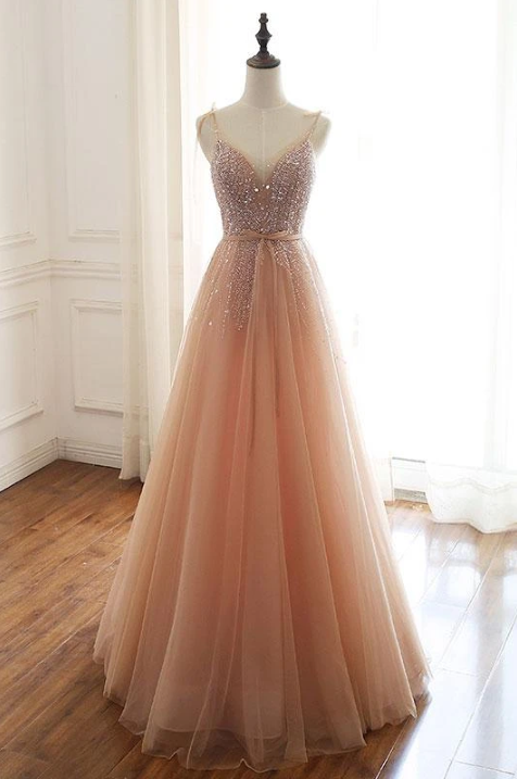 Champagne Tulle V Neck Beaded Long Senior Prom Dress, Formal Dress