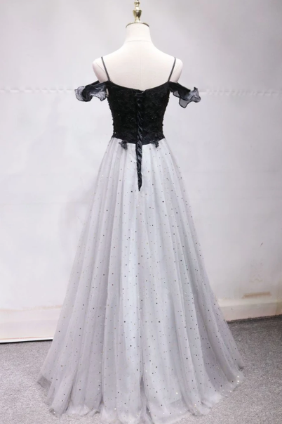 Black And White Star Floral Tulle Long Prom Dress, Off Shoulder Evening Dress