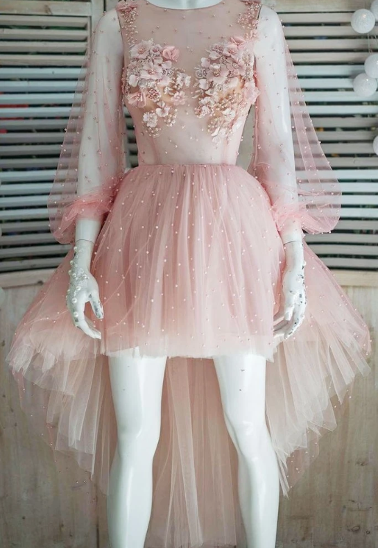 Unique Pink Tulle Pearl High Low 3D Lace Applique Prom Dress, Party Dress With