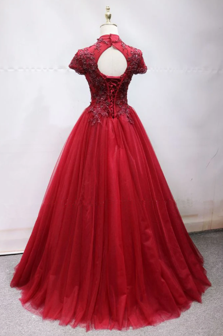 Red Tulle Beaded Short Sleeve O Neck Long Beaded Senior Prom Dress, Formal Dress