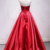 Red Satin Strapless V Neck A Line Long Pageant Prom Dress, Evening Dress