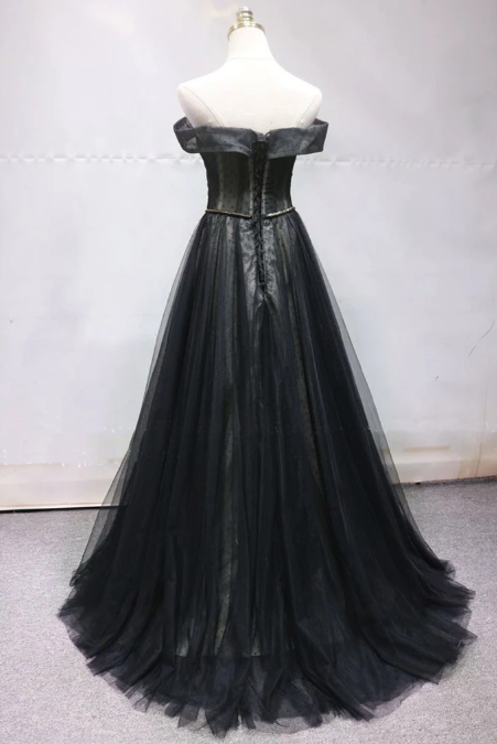 Black Tulle Off Shoulder Sweetheart Long Beaded Prom Dress, Formal Dress