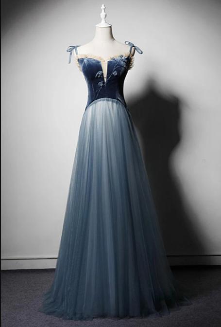 Blue Gray Tulle Velvet Spaghetti Straps Long Senior Prom Dress, Beaded Evening