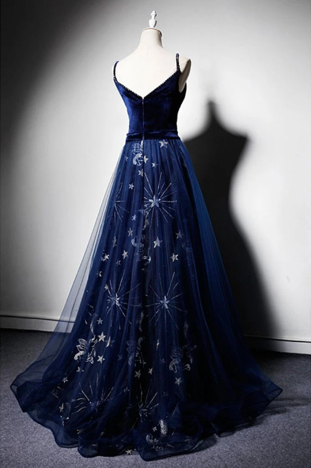 Deep Blue Velvet Floral Tulle Long V Neck Pageant Prom Dress, Evening Dresses