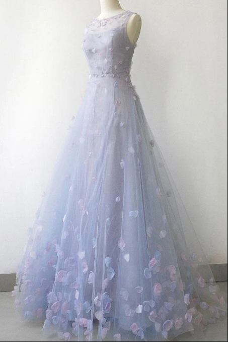 Simple Blue Gray Tulle 3D Lace Applique Long A Line Prom Dress, Halter Evening
