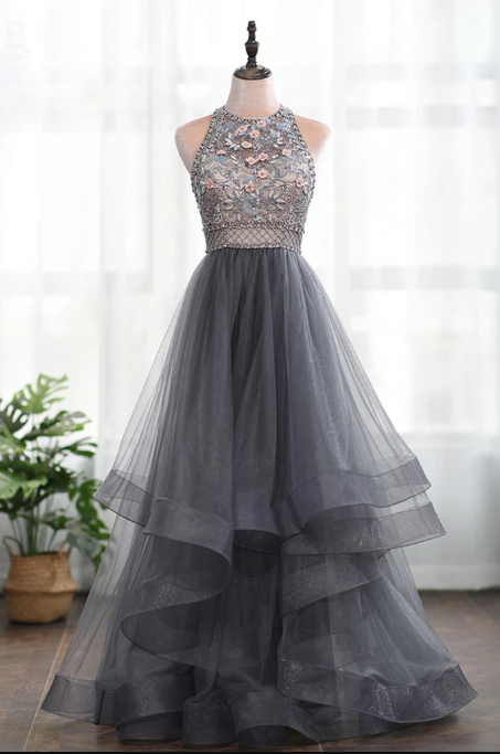 Grey Tulle 3D Flowers Backless Heavy Beading High Neck Long Prom Dress, Evening