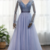 Dusty Blue Long Sleeves Deep V-neck Beaded Pearl Prom Dress, Formal Dress