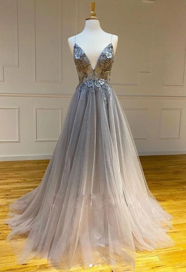 Gray Tulle Dress V Neck Long A Line Customize Prom Dress Sequins Dress