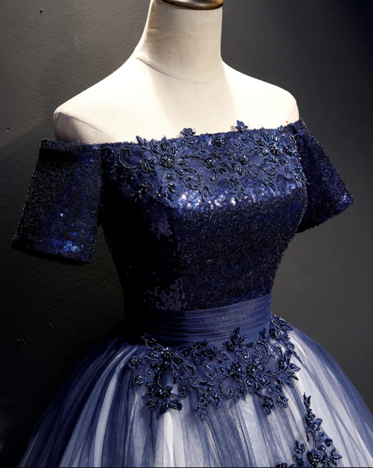 Navy Blue Tulle Lace Strapless Long Customize Prom Dress, Evening Dress